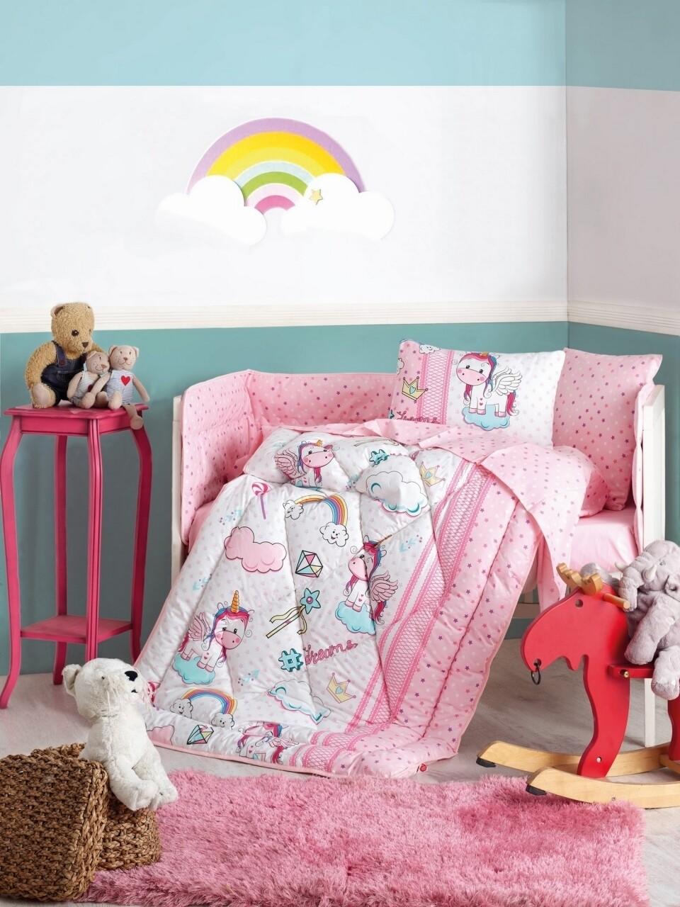 Set de pat pentru copii, 6 piese, 100% bumbac ranforce, Cotton Box, Unicorn