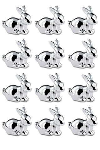 Set 12 decoratiuni Small Lying Rabbit, Hermann Bauer, portelan, argintiu