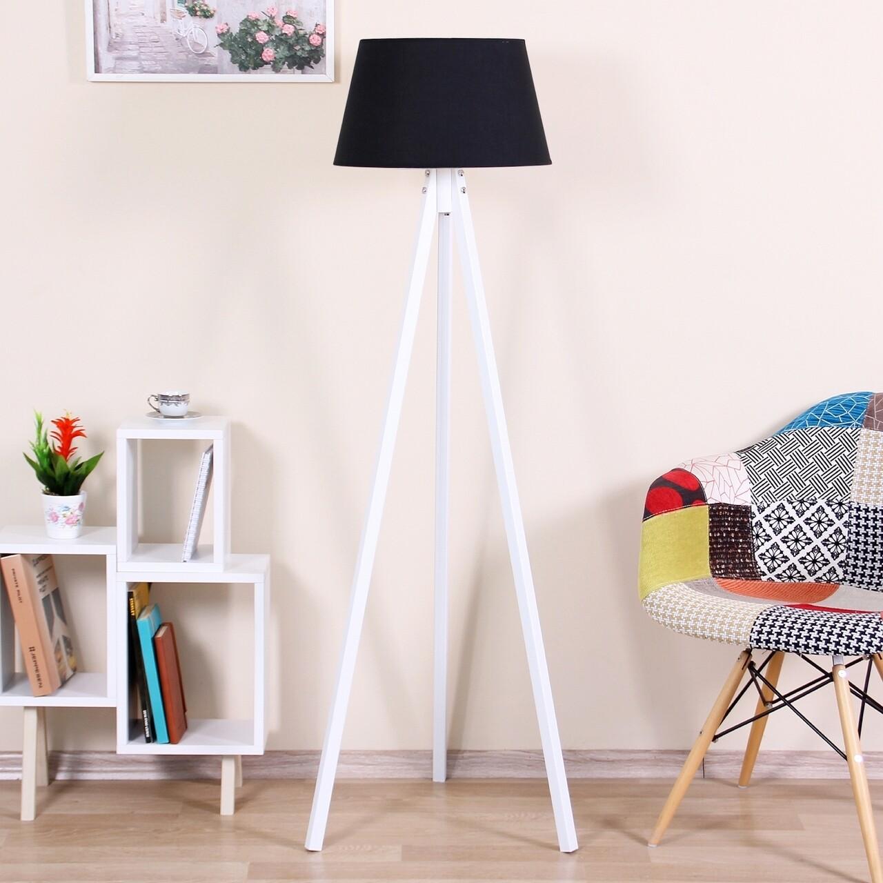 Lampadar Conical, Casa Parasio, 38x42x145 cm, 1 x E27, 60 W, negru/alb