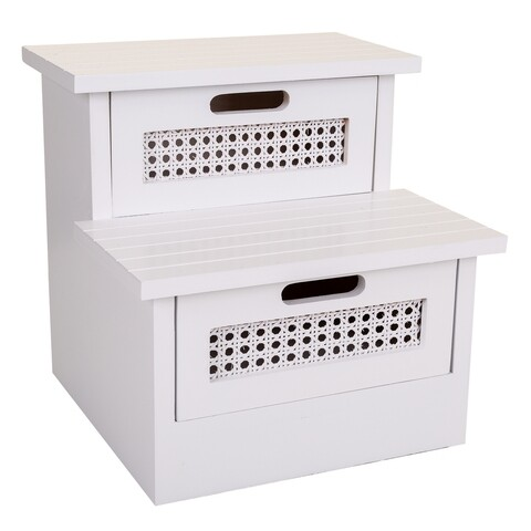 Scaun tip treapta, Emma, Creaciones Meng, 34x34x34 cm, 2 sertare, lemn de paulownia/trestie, alb