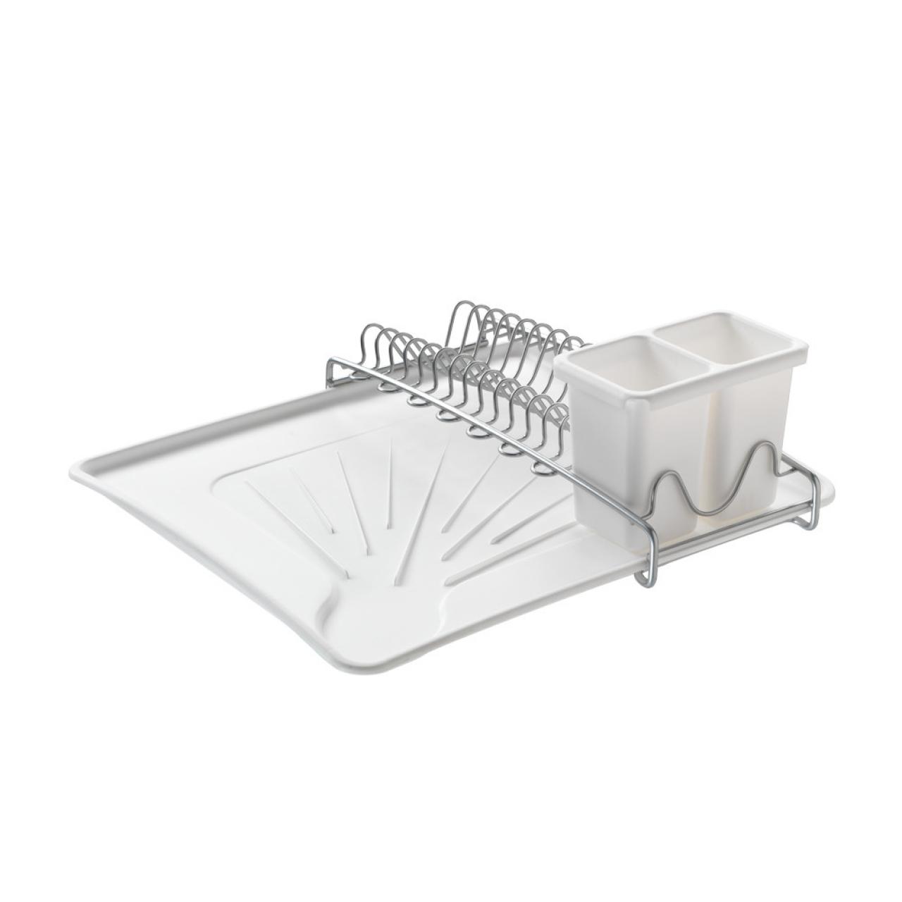 Scurgator vase cu suport pentru tacamuri Space Tex, Metaltex, 12 x 31 x 35 cm, inox/plastic, alb/argintiu