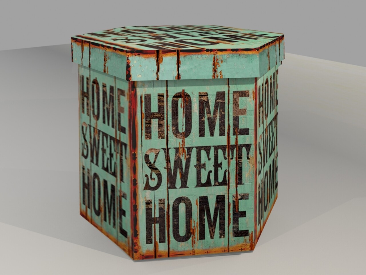 Taburet pliabil cu spatiu de depozitare Sweet Home, Heinner Home, 38 x 38 x 43 cm, PVC, albastru