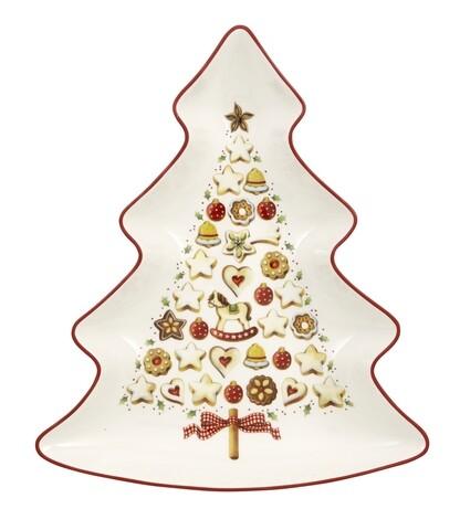 Platou pentru servire, Villeroy & Boch, Winter Bakery Delight Tree, 26.5 cm, portelan premium