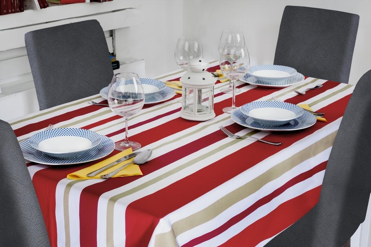 Fata de masa 150x200 cm, 100% bumbac, Red Stripes