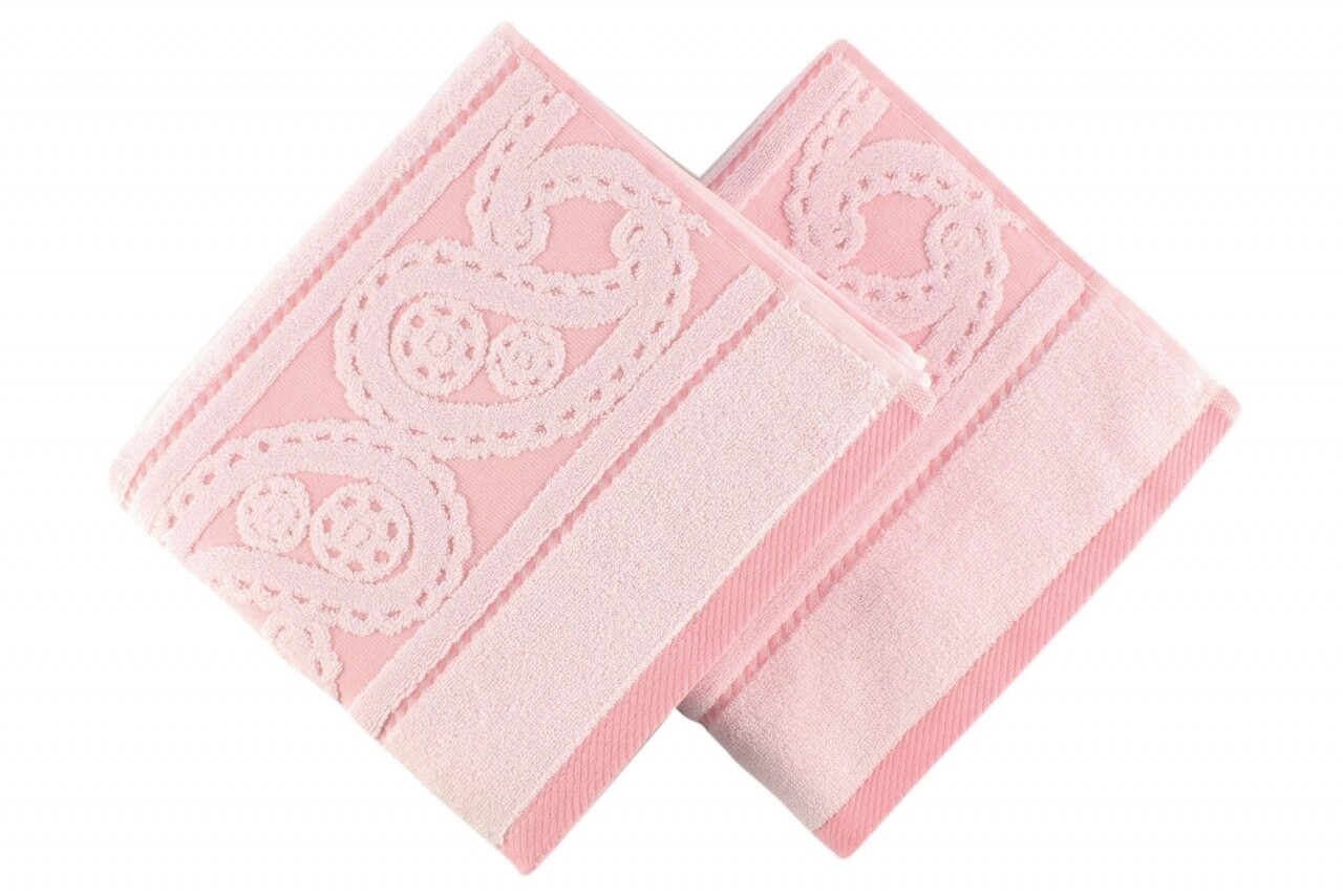 Set 2 prosoape de maini, Hobby, Hurrem, 50x90 cm, 100% bumbac, roz