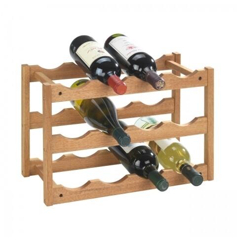 Suport 12 sticle de vin Norway, Wenko, 21 x 28 x 42 cm, lemn de nuc, natur