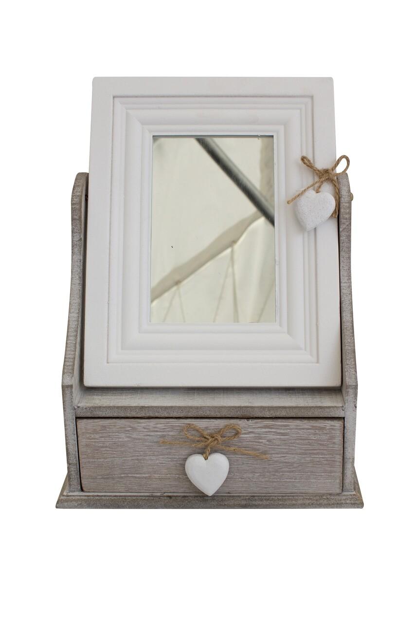 Cutie pentru bijuterii cu oglinda Heart, Bedora, lemn, alb