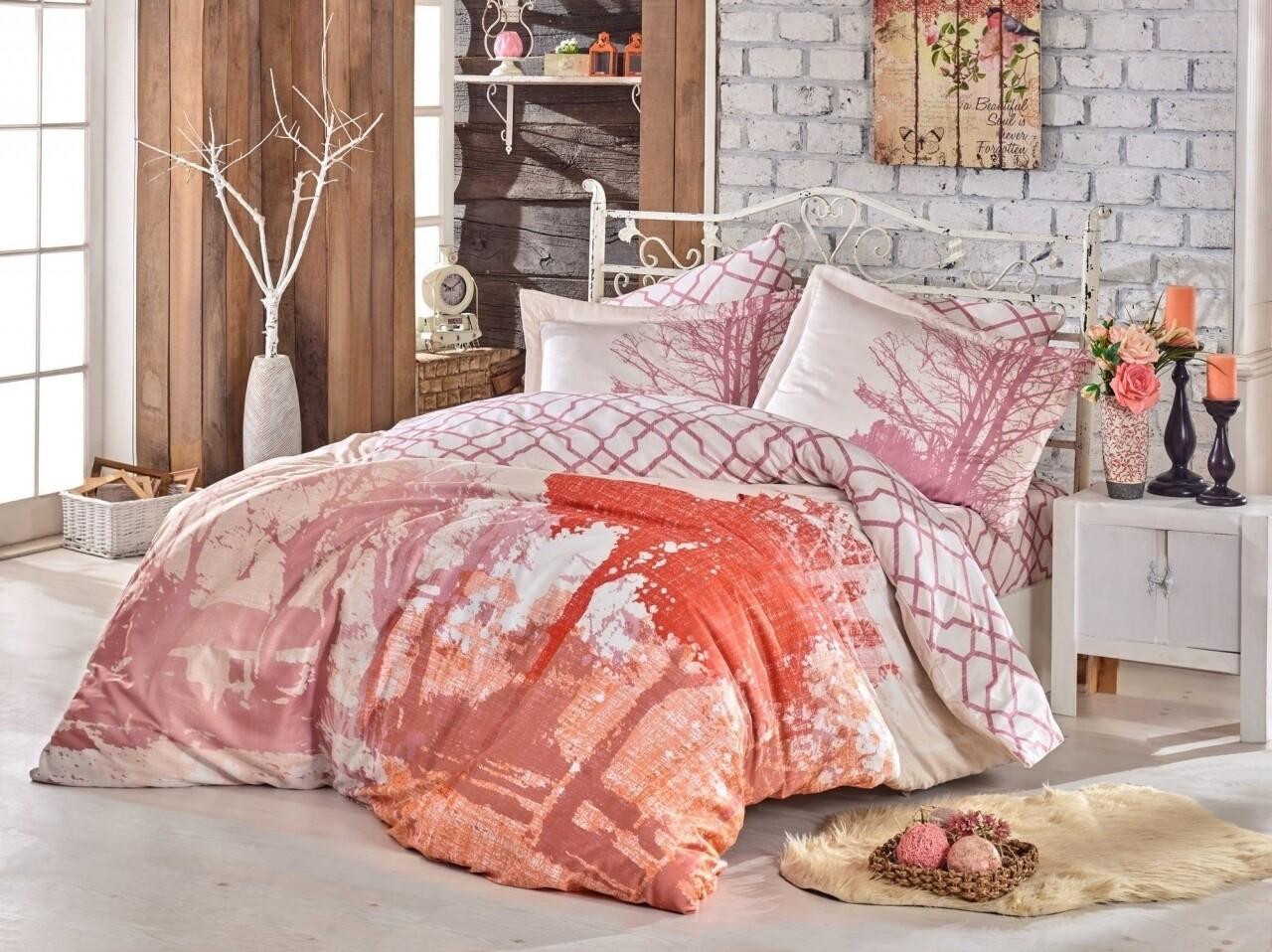 Lenjerie de pat dubla, 6 piese, 240x260 cm, 100% bumbac satinat, Hobby, Alandra Rose, roz