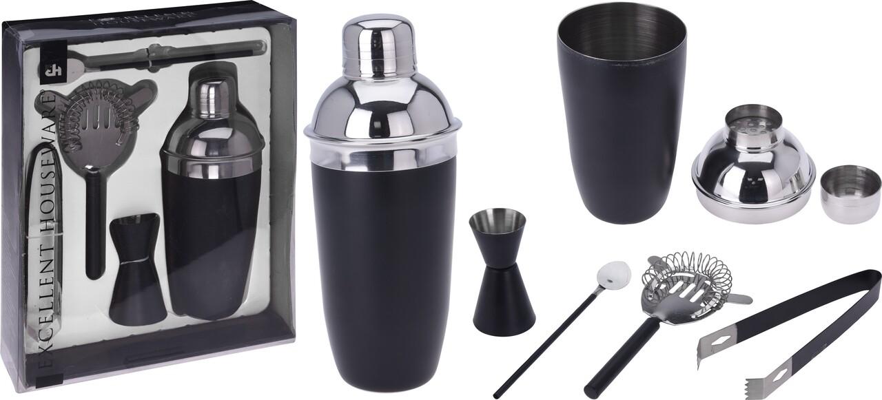 Shaker pentru cocktail cu accesorii, inox, negru