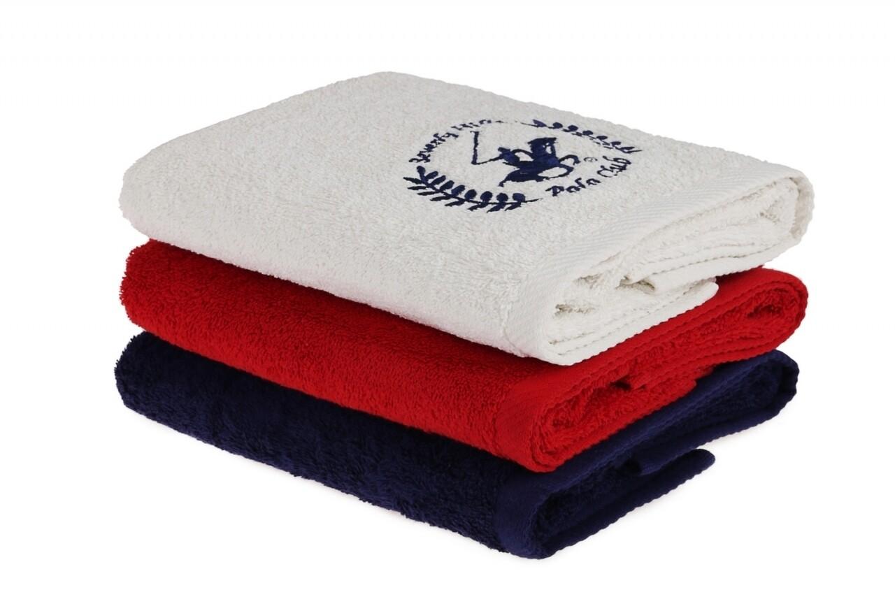 Set 3 prosoape de maini Beverly Hills Polo Club, 50x90 cm, 100% bumbac, Red/White/Dark Blue