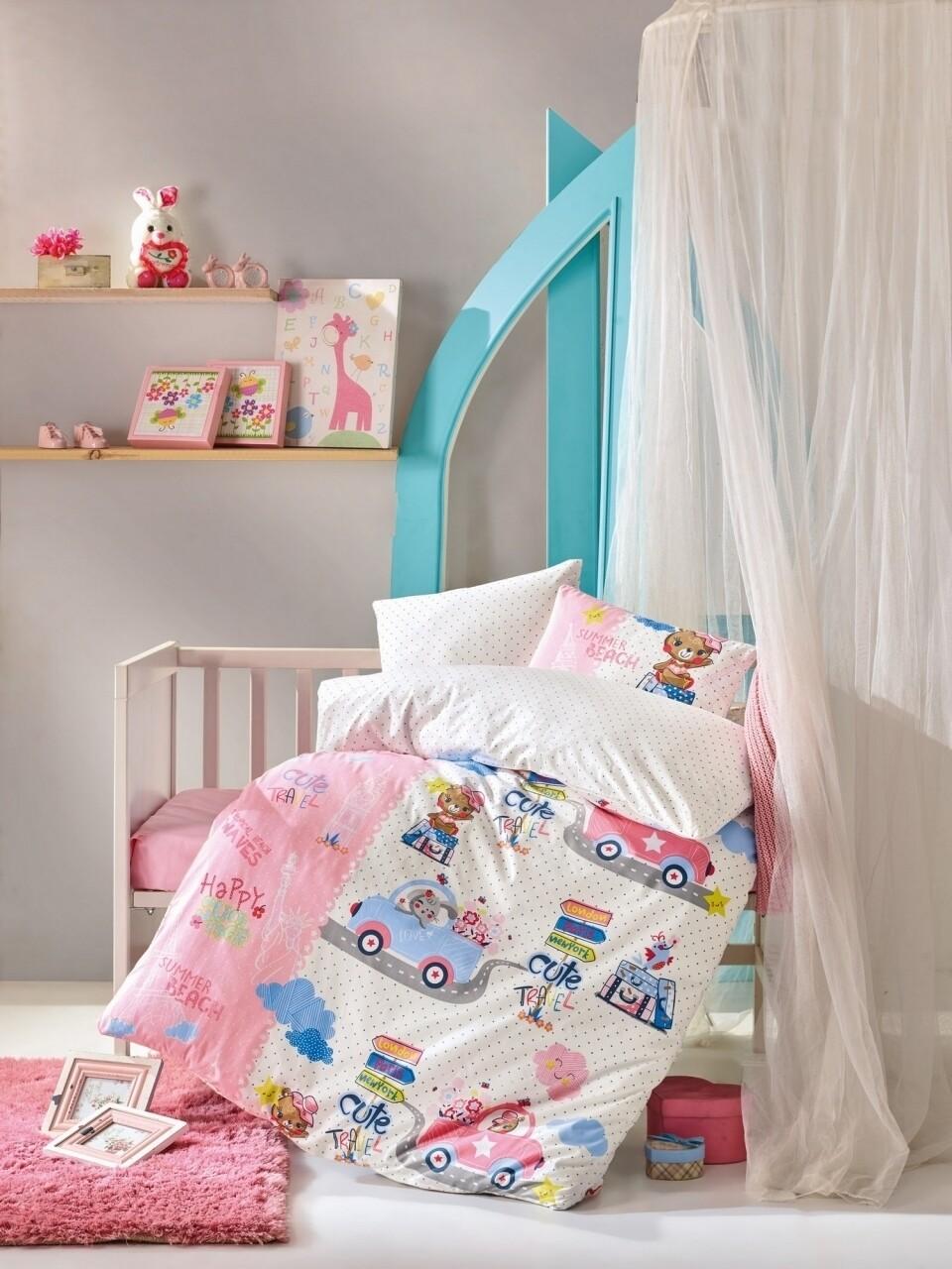 Lenjerie de pat pentru copii, 4 piese, 100% bumbac ranforce, Cotton Box, Cars