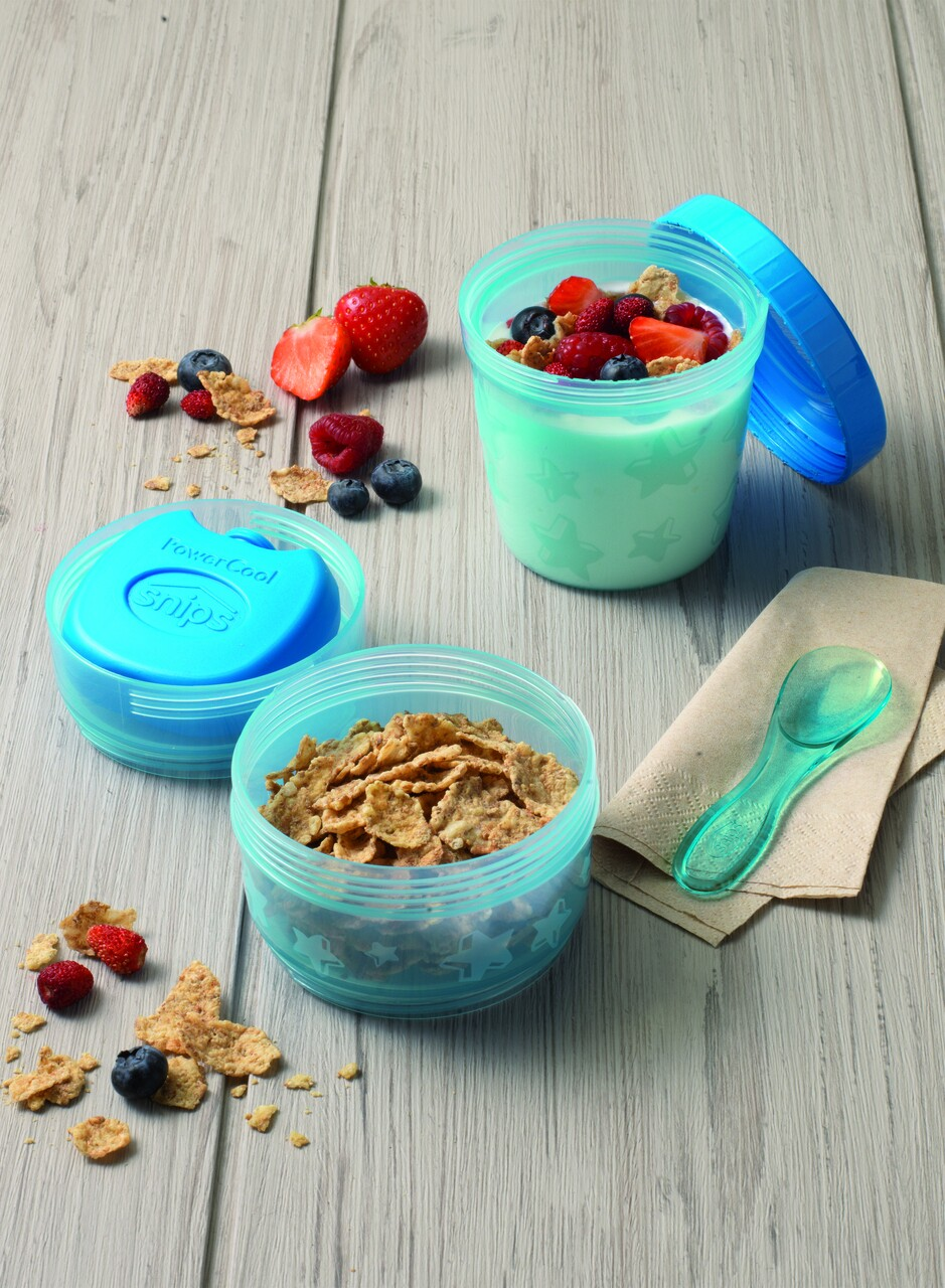 Set 2 cutii alimentare termice + lingura, Snips, 9.2 x 14.8 cm, polipropilena, albastru