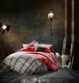 Lenjerie de pat matlasata pentru 2 persoane, 4 piese, 100% bumbac ranforce, Cotton Box, Santa
