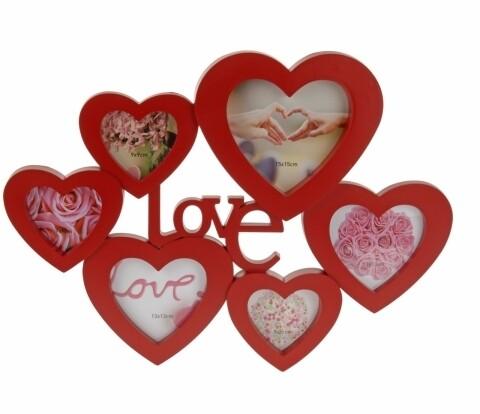 Rama foto Love, 6 fotografii, 37 x 50 cm, polipropilena, rosu