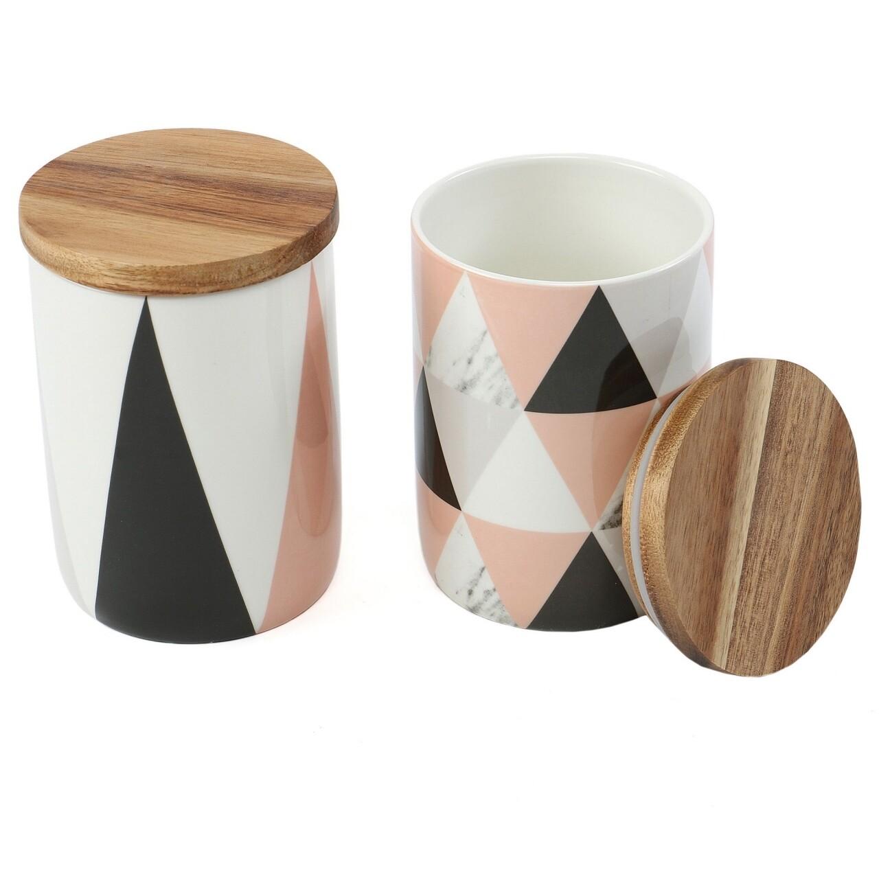 Set 2 recipiente cu capac Triangles, Jocca, 10 x 15 cm, portelan/salcam, multicolor