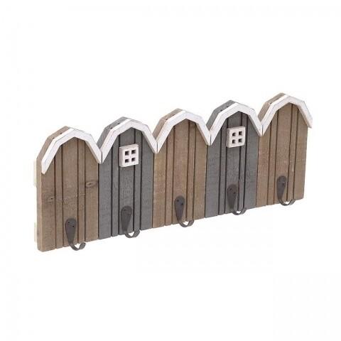 Cuier Little Houses, InArt, 5 agatatori, 50 x 4 x 20 cm, lemn, maro/gri