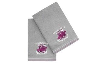 Set 2 prosoape de maini, Beverly Hills Polo Club, 401 - Grey, 50x90 cm, 100% bumbac, gri