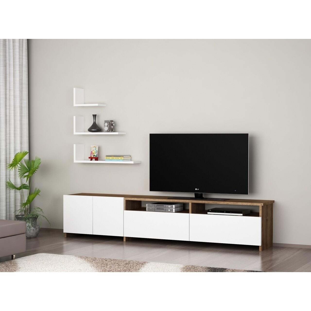 Comoda TV cu rafturi, Wooden Art, Gelincik White Walnut, 180x103.1x31.6 cm
