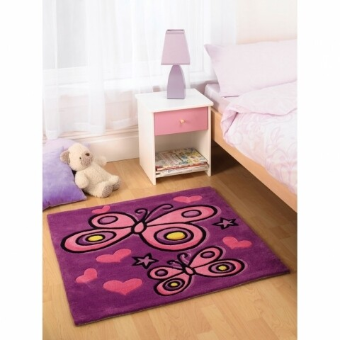 Covor Kiddy Play Butterfly Purple 90X90