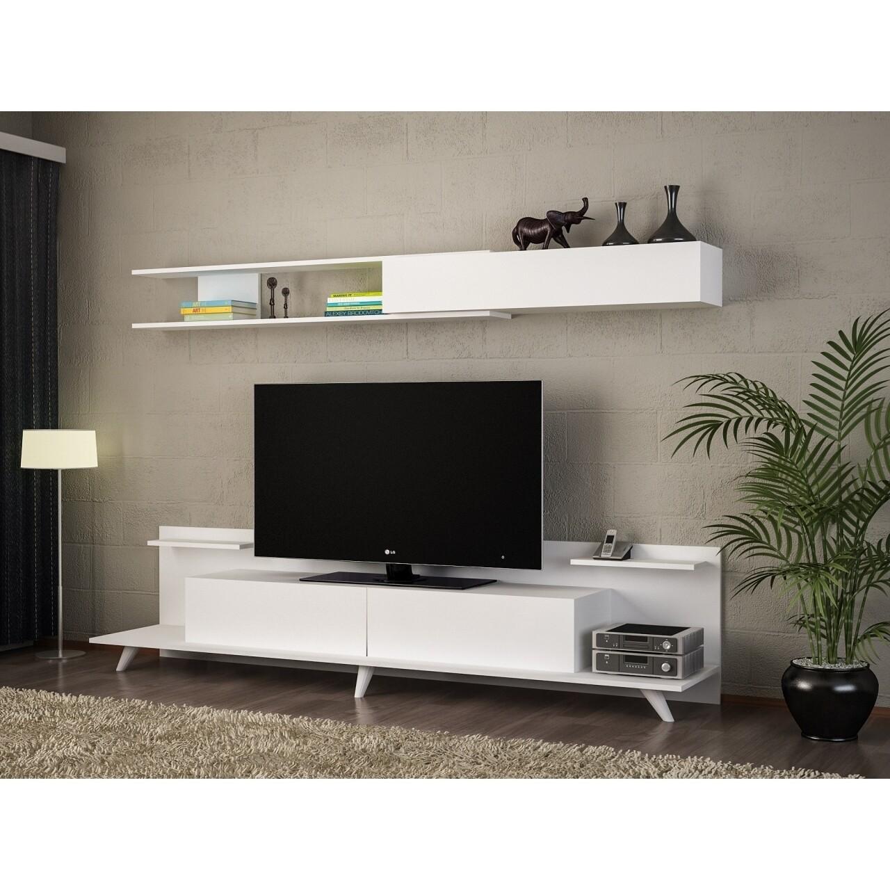 Comoda TV cu raft, Wooden Art, Dore White