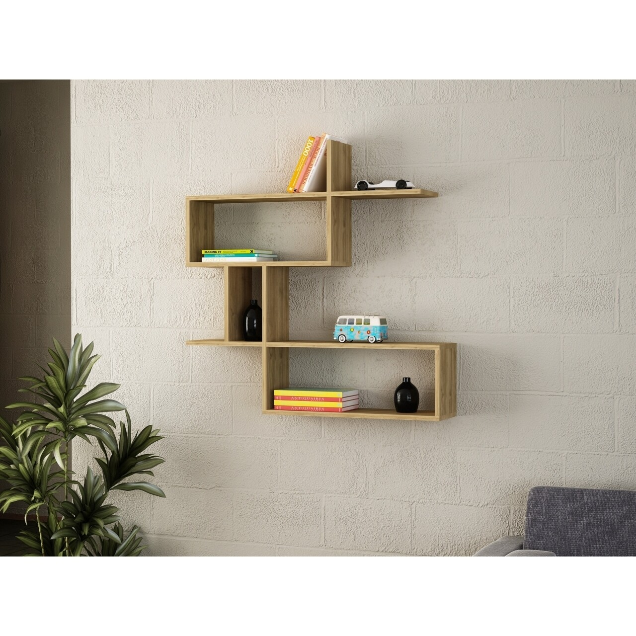 Raft pentru perete, Wooden Art, Montera Walnut, 100x107.2x22 cm