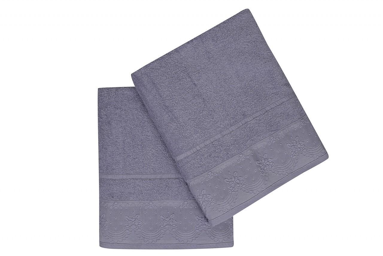 Set 2 prosoape de baie 90x150 cm, 100% bumbac, Soft Kiss, Corona Purple