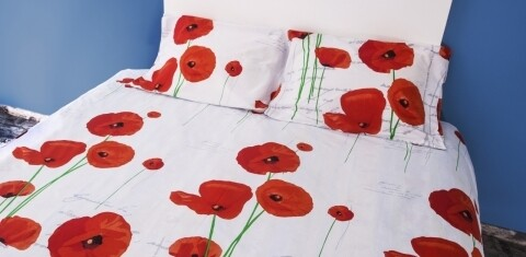 Lenjerie de pat dubla Poppy, Heinner, 4 piese, 200 x 220 cm, 100% bumbac, alb/rosu