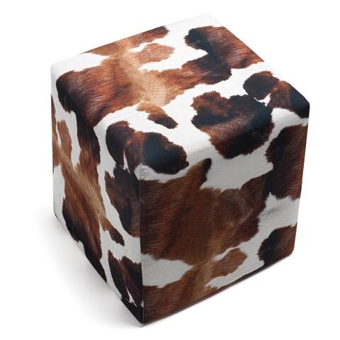 Taburet Milky, Balcab Home, 40x40x40 cm, alb/maro