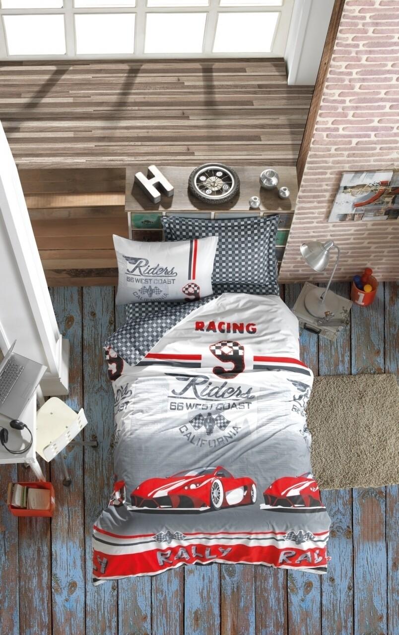Lenjerie de pat pentru o persoana, 3 piese, 100% bumbac ranforce, Cotton Box, Red car
