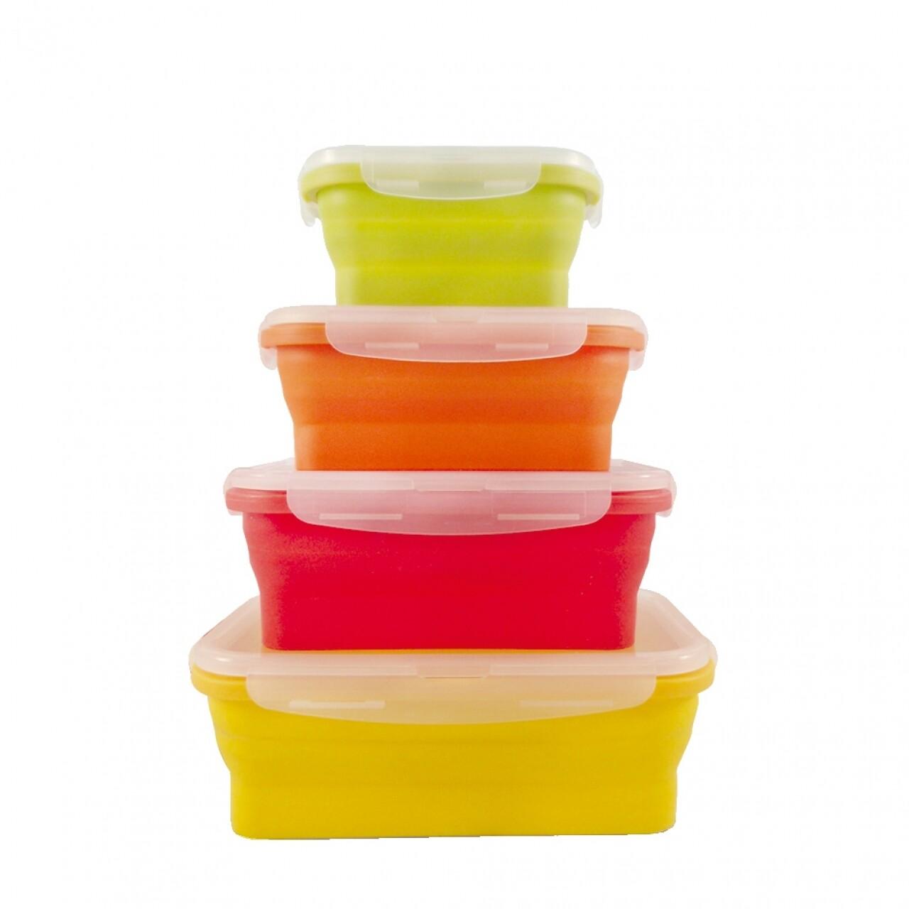 Set 4 cutii alimentare Jocca, 13.5 x 28.5 x 39.5 cm, silicon, multicolor