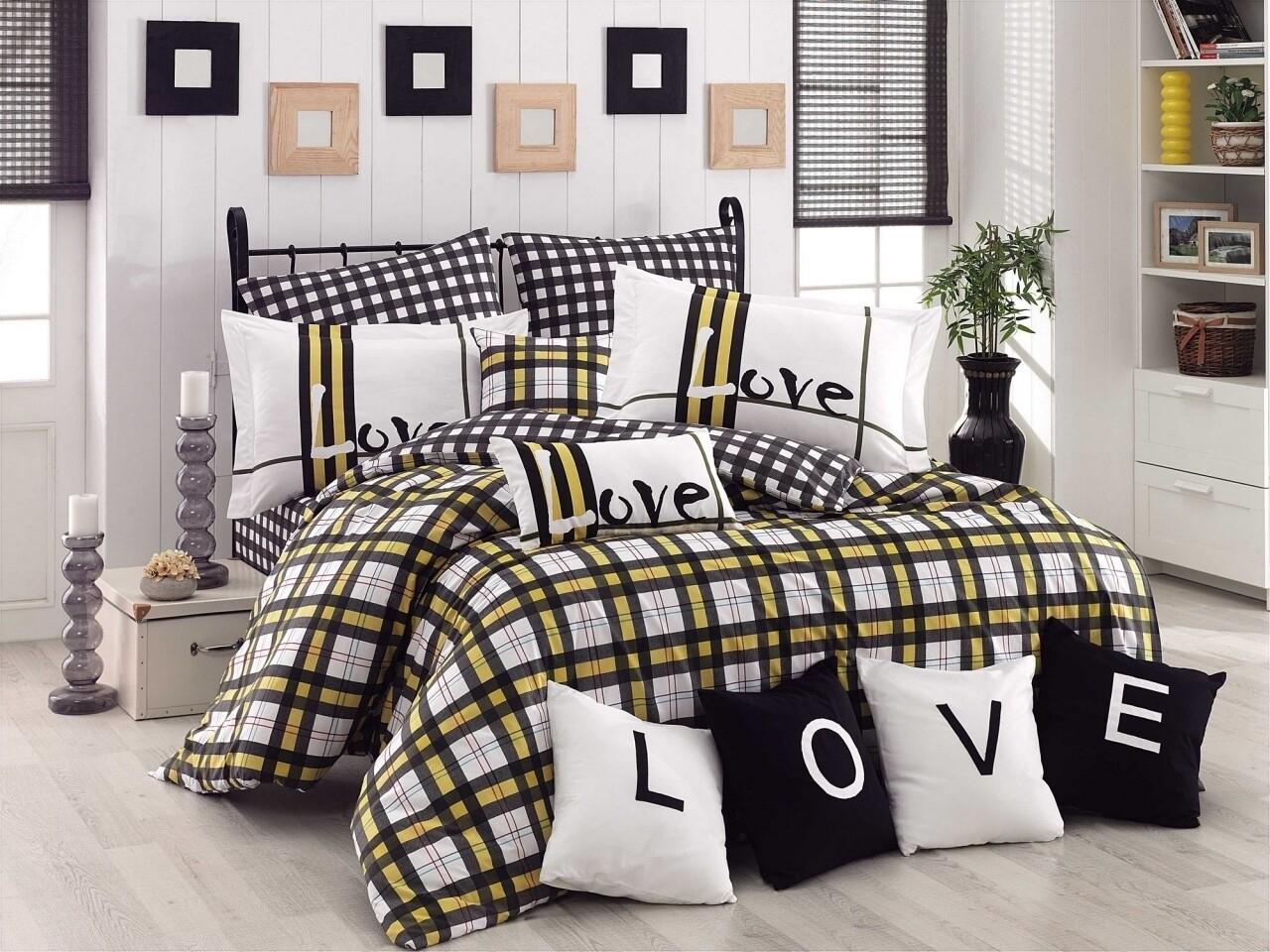 Lenjerie de pat pentru o persoana, 3 piese, 100% bumbac poplin, Hobby, Love Code, alb/negru