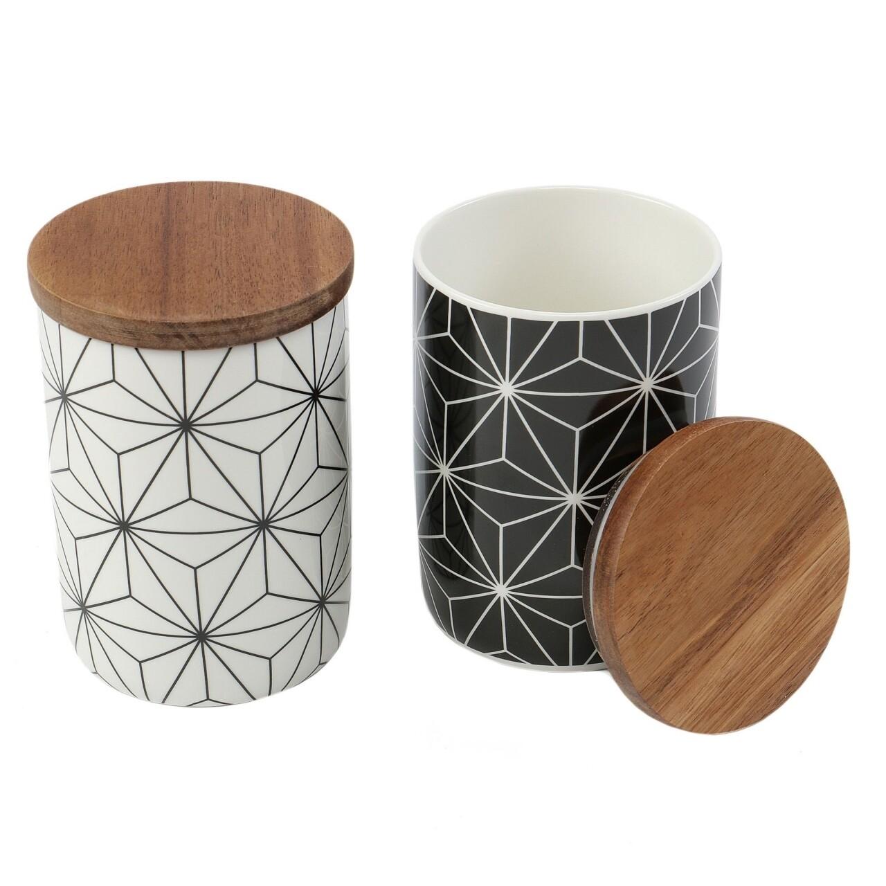 Set 2 recipiente cu capac Geometry, Jocca, 10 x 15 cm, portelan/salcam, alb/negru/natur