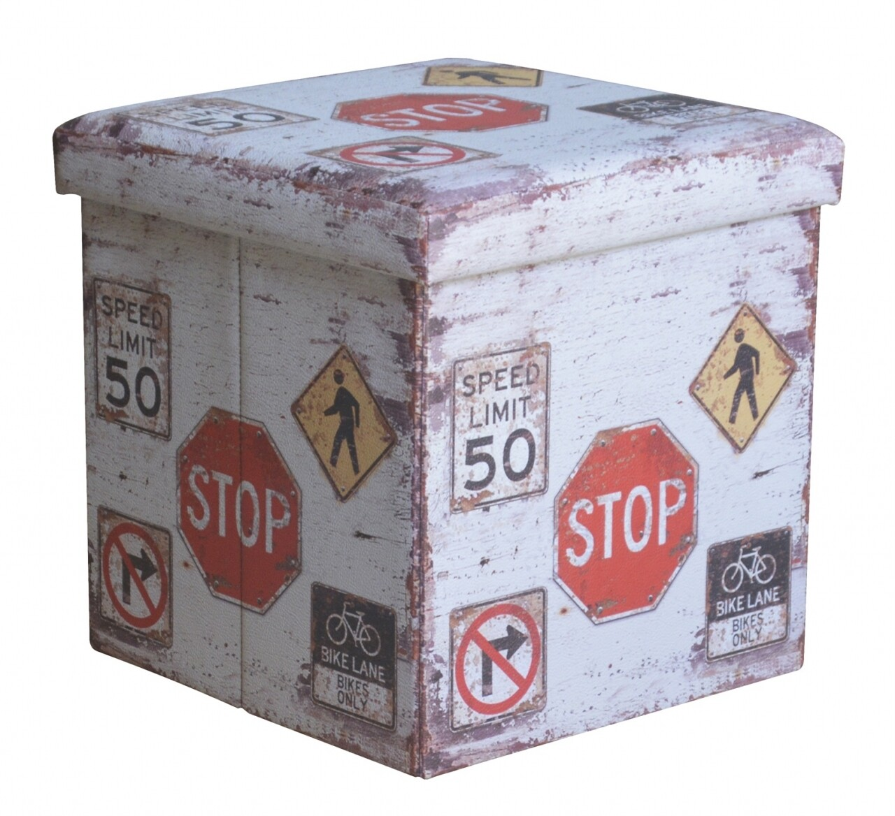 Taburet pliabil cu spatiu de depozitare Stop, Heinner Home, 37.5 x 38 x 38 cm, PVC, multicolor