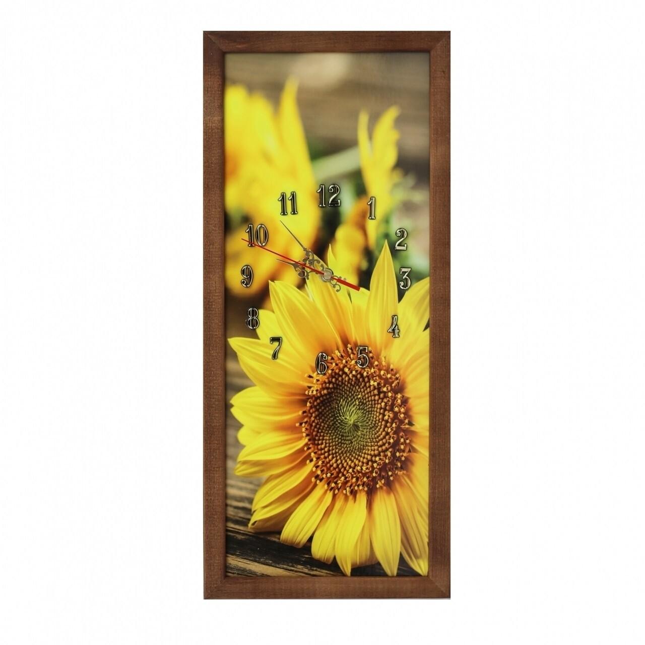 Tablou cu ceas Sunflower, Heinner Home, 20x50 cm, lemn