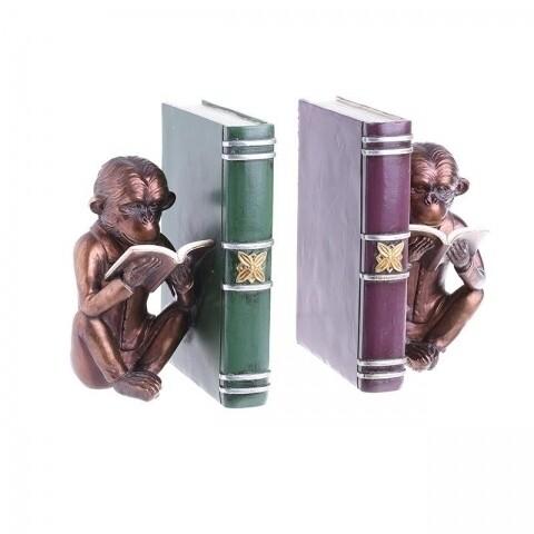 Set opritor carti pentru rafturi Monkey, InArt, 12 x 9 x 17 cm, polirasina, bronz