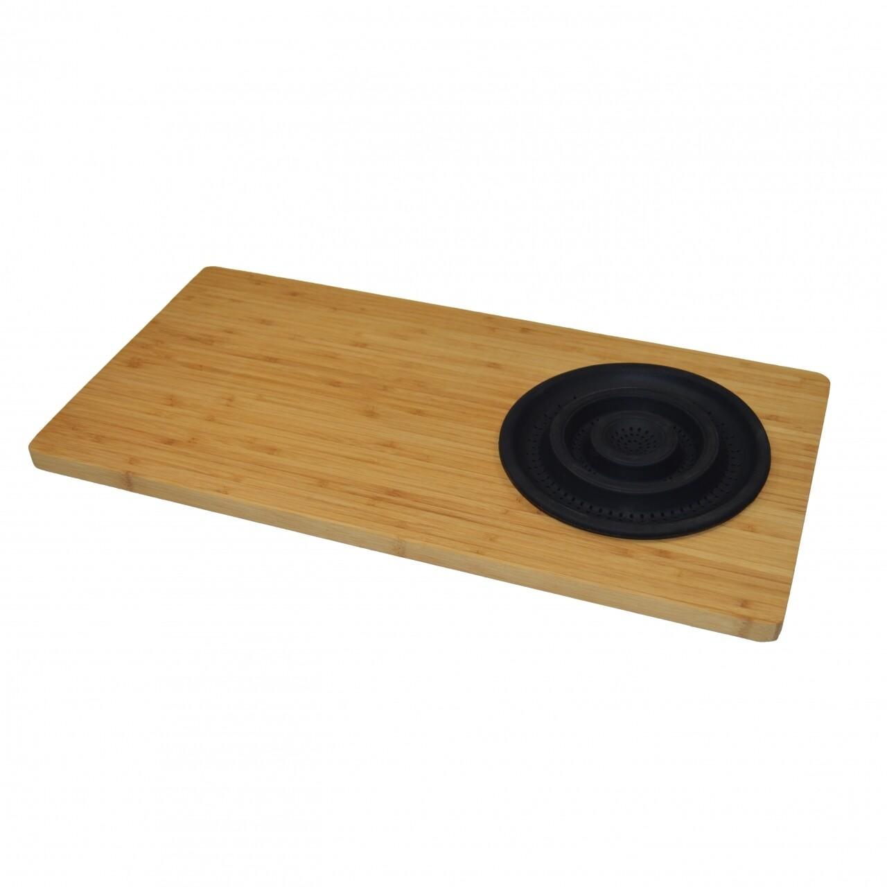 Tocator cu sita Black, Jocca, 29 x 59 x 1.8 cm, bambus/silicon natur/negru