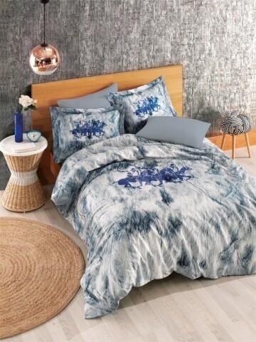 Lenjerie de pat dubla, Blue Canvas, Beverly Hills Polo Club, 4 piese, 240 x 260 cm, 100% bumbac ranforce, alb/albastru