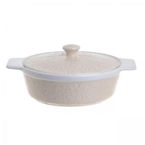 Tava pentru cuptor din ceramica cu capac InArt, 36.5x21.5x11 cm, Cream