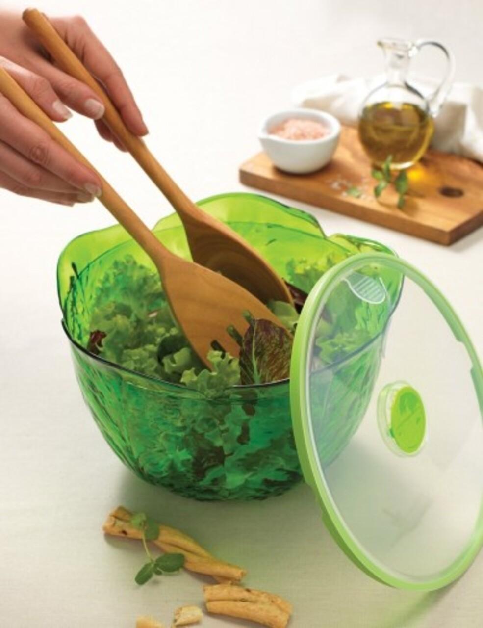Cutie depozitare salata, Snips, Salad Keeper, pentru pastrarea prospetimii, 4 L, plastic, verde