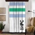 Draperie Beverly Hills Polo Club, Crt 07-6, 140x260, 100% poliester, alb/verde/albastru