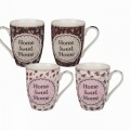 Set 4 cani Flower Home Sweet Home, Out of the blue, 250 ml, ceramica, multicolore