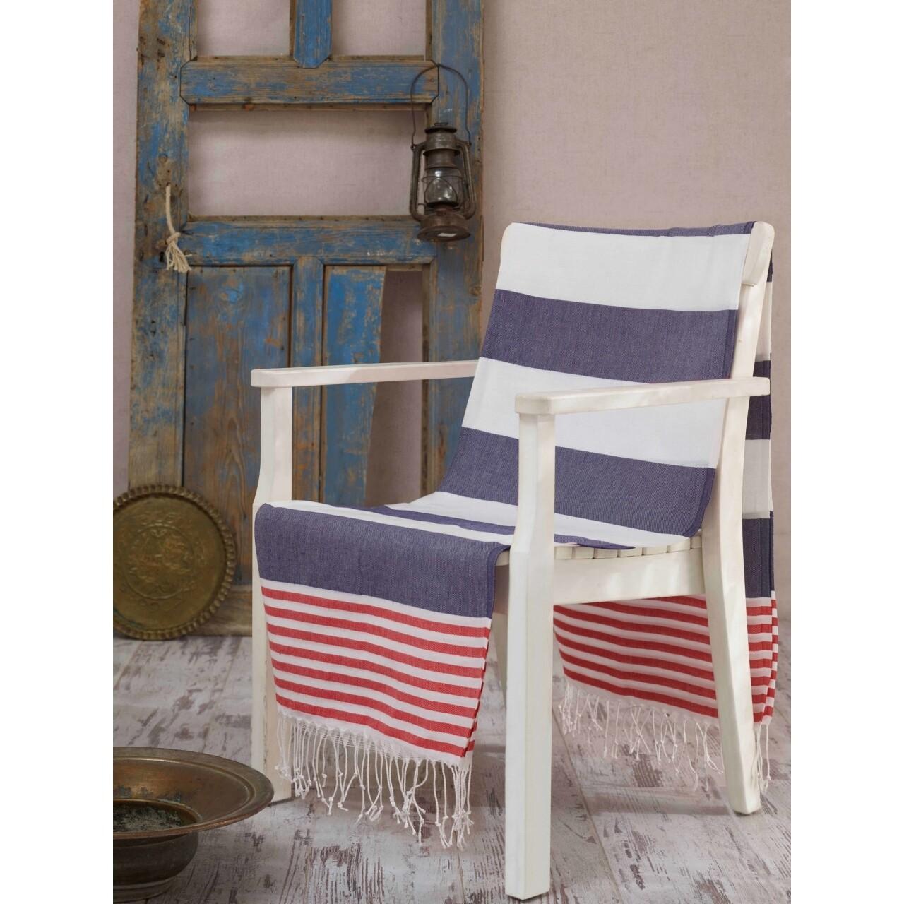 Prosop de plaja pestemal Antalya Blue, 100 x 180 cm, alb/albastru/rosu