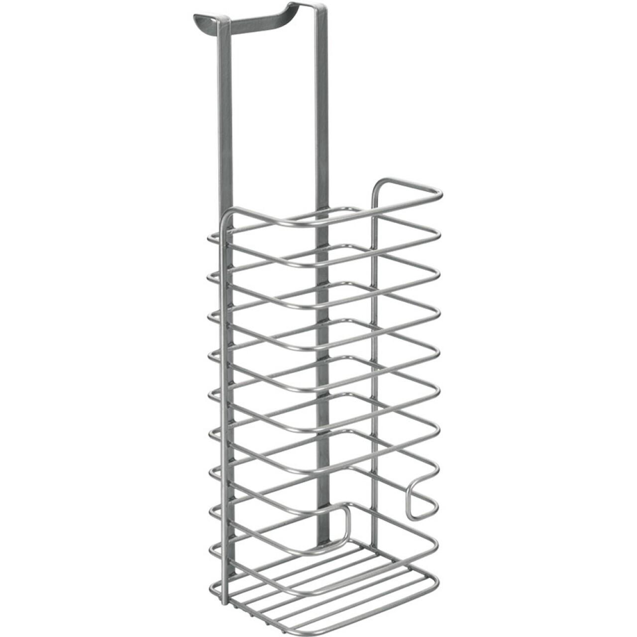 Suport pentru pungi Galileo Metaltex, 12x12x36 cm, metal/invelis Polytherm, argintiu
