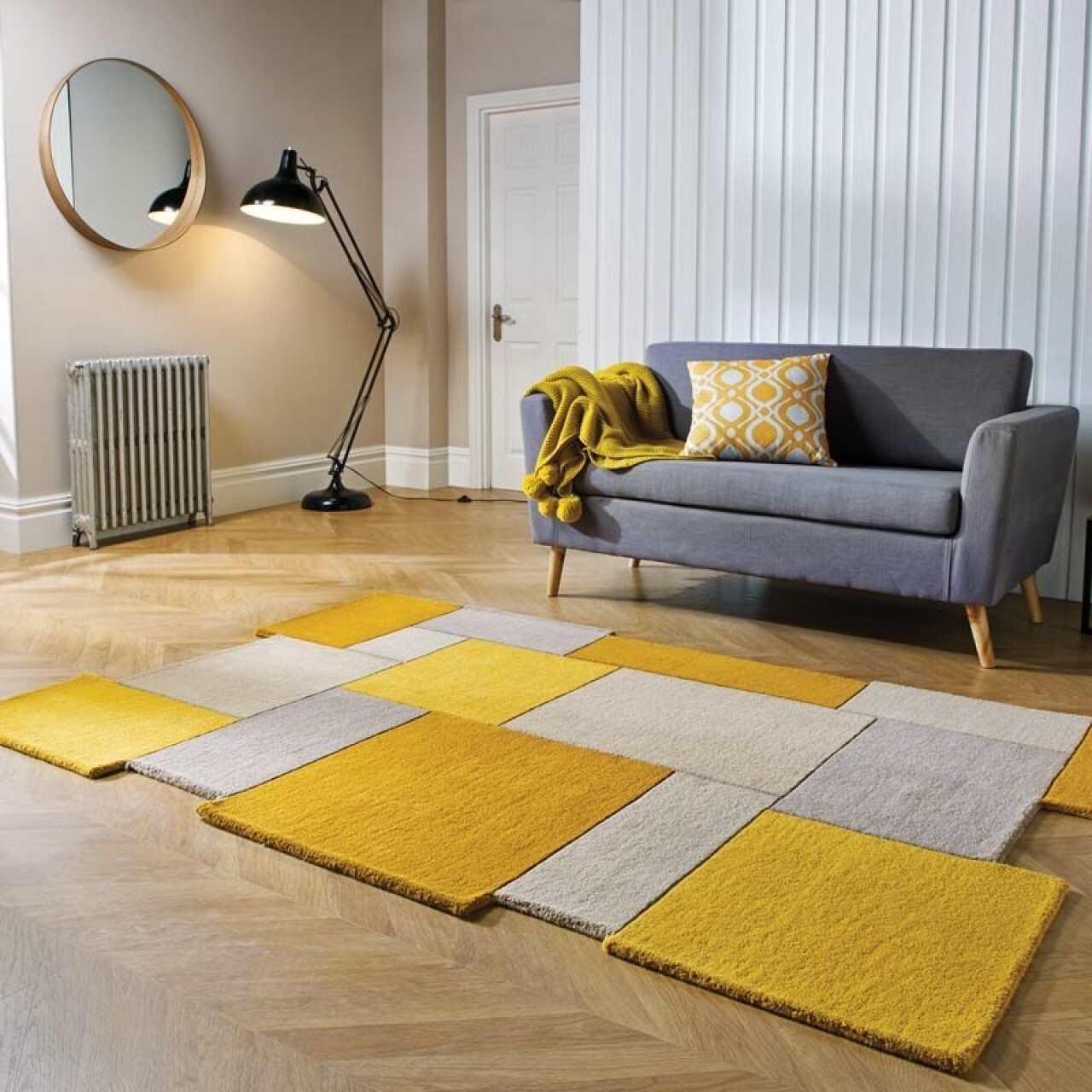 Covor Abstract Collage Ochre, Flair Rugs, 120x180 cm, lana, ocru