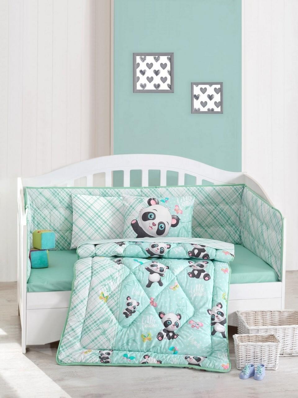 Set de pat pentru copii, 6 piese, 100% bumbac ranforce, Cotton Box, Panda