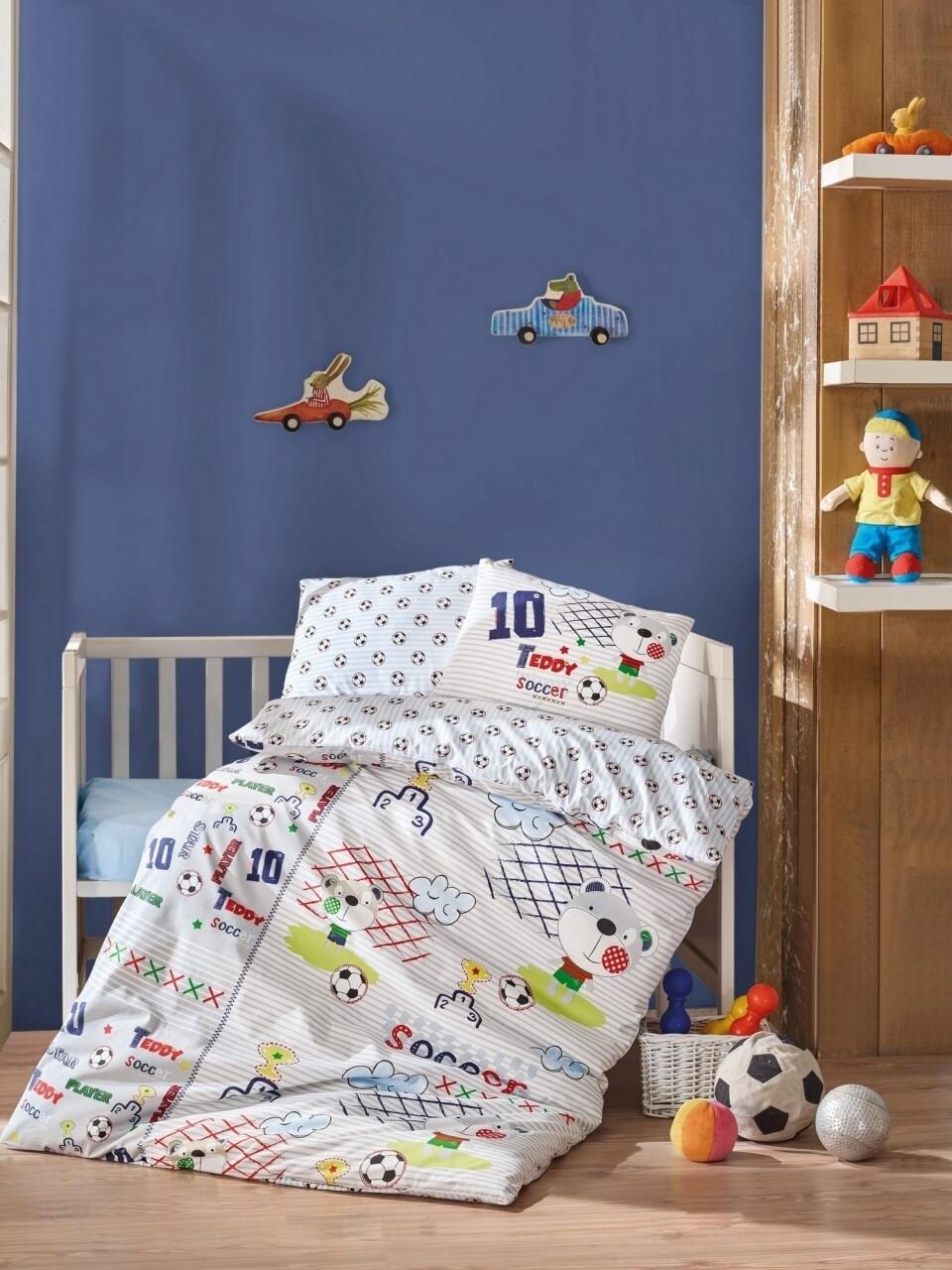 Lenjerie de pat pentru copii, 4 piese, 100% bumbac ranforce, Cotton Box, Teddy
