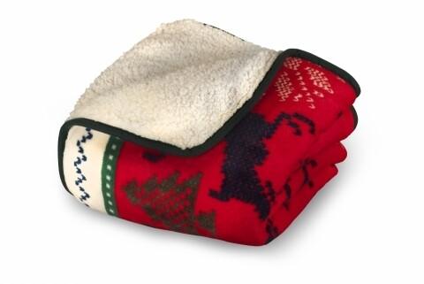 Patura fleece cu blanita 127x152 cm, 100% poliester, Ren