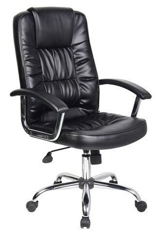 Scaun de birou ergonomic, Bedora  Abraj, piele ecologica, Negru