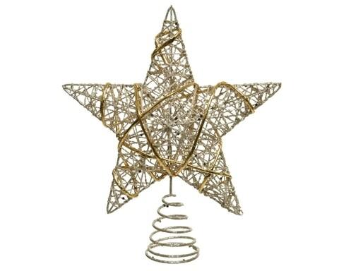 Varf decorativ pentru brad Star, Decoris, 20x5x22 cm, metal, auriu