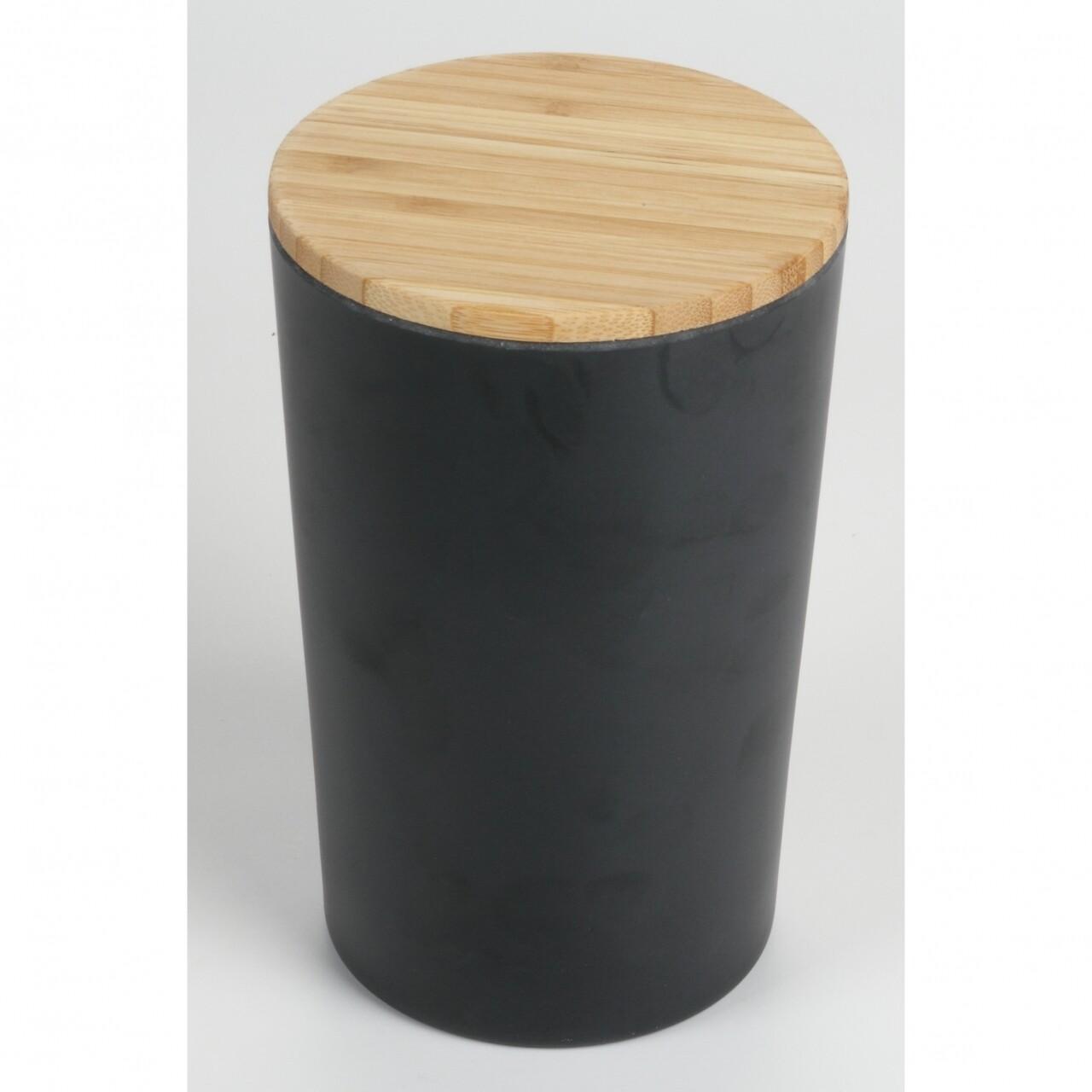 Cutie de depozitare Black Bamboo, Jocca, 12 x 12 x 18.7 cm, bambus, negru/natur